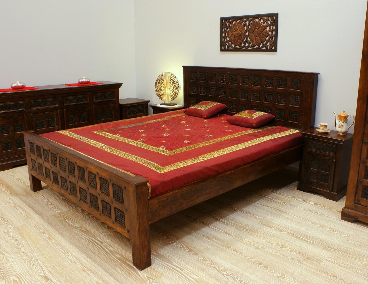 Łóżko kolonialne lite drewno akacja indyjska ręcznie wykonane rzeźbione