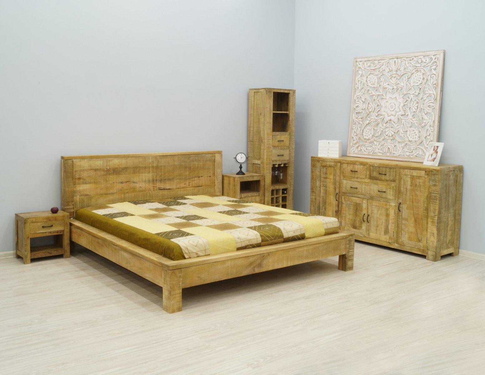 Łóżko kolonialne lite drewno mango styl loft