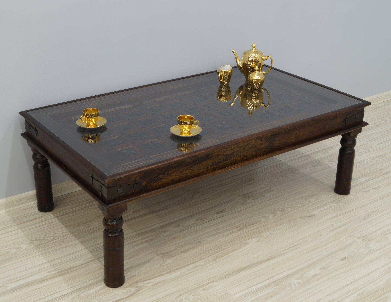 Ława kolonialna stolik kawowy lite drewno akacja indyjska z szybą