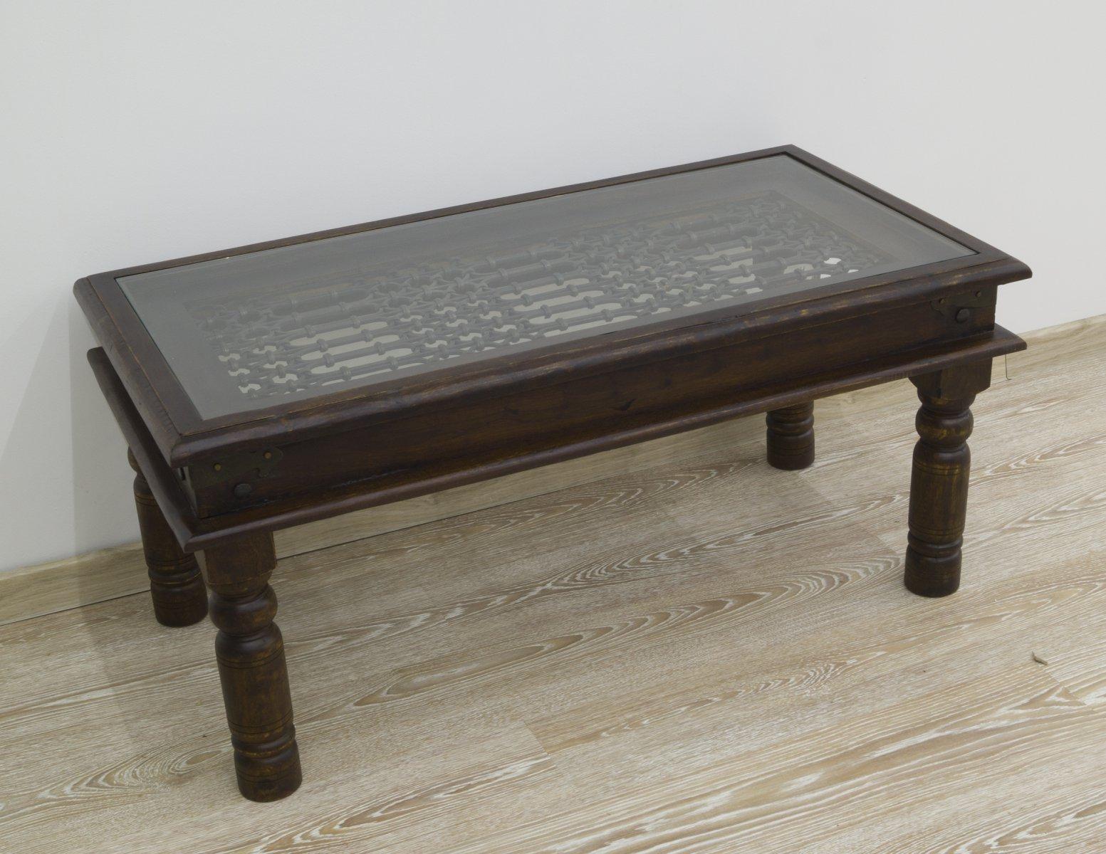 Ława kolonialna stolik kawowy lite drewno palisandru indyjskiego z szybą metaloplastyka