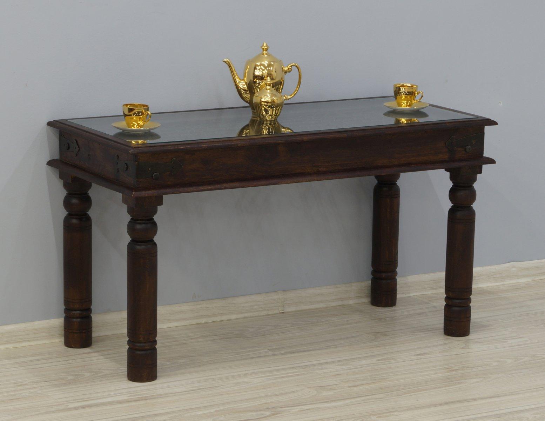 Ława stolik kawowy kolonialny lite drewno palisander indyjski metaloplastyka z szybą