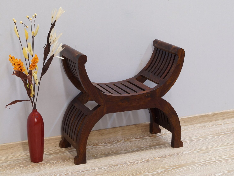 Ławka kolonialna w stylu rzymskim lite drewno palisander indyjski ciemny brąz