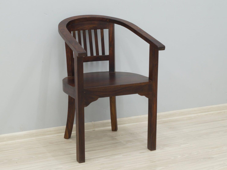 Fotel kolonialny z podłokietnikami lite drewno palisander indyjski