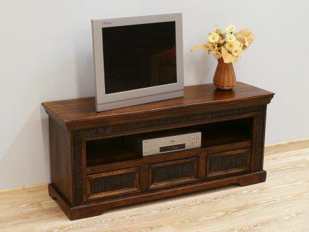 Komoda RTV szafka pod telewizor kolonialna indyjska lite drewno akacja rzeźbiona