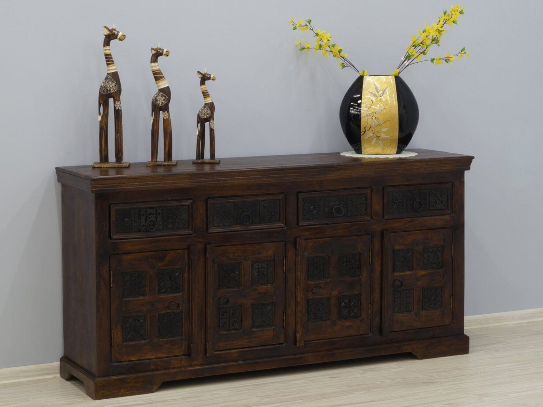 Komoda kolonialna lite drewno akacja ręcznie wykonane ornamenty