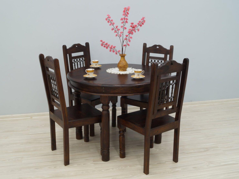 Komplet obiadowy kolonialny okrągły stół + 4 krzesła lite drewno palisander indyjski metaloplastyka