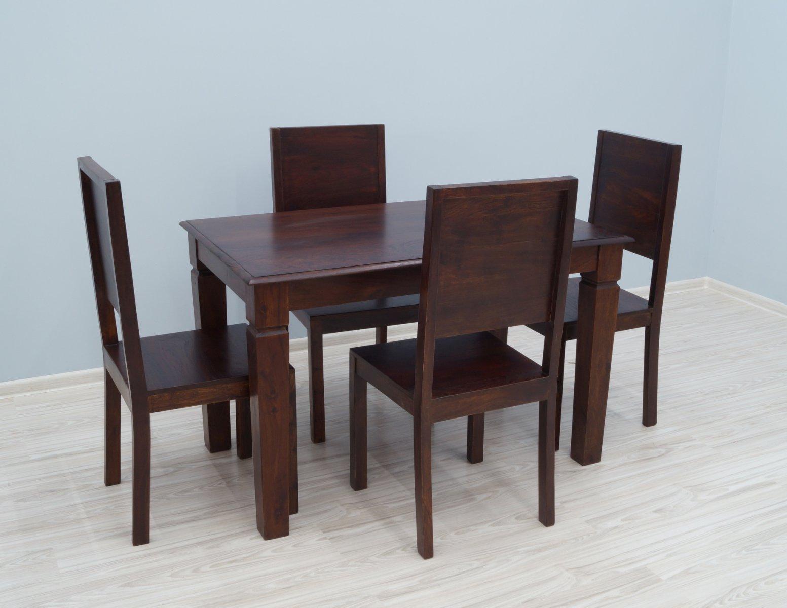 Komplet obiadowy kolonialny stół+ 4 krzesła z litego drewna palisandru ciemny brąz