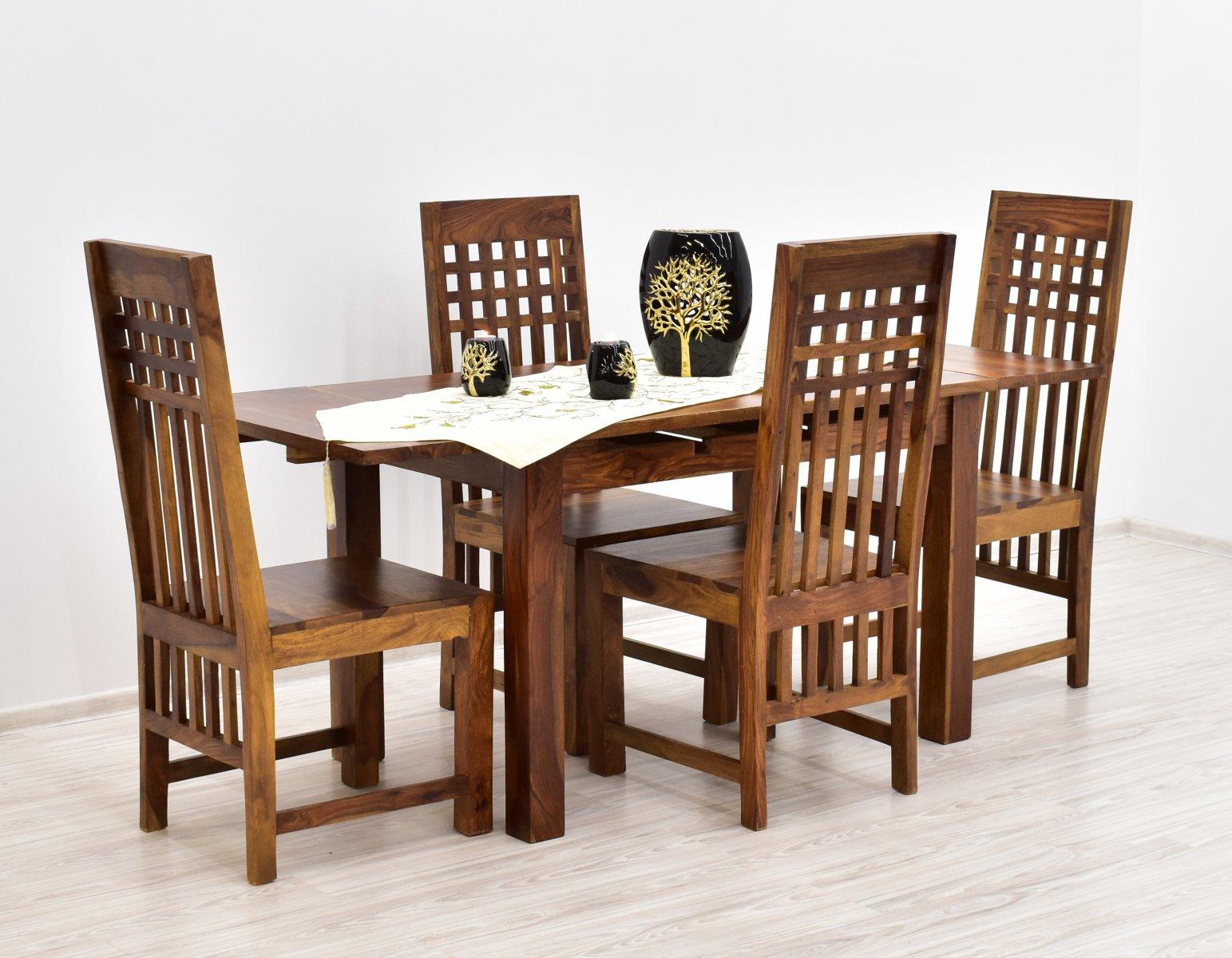 Komplet obiadowy kolonialny stół rozkładany + 4 krzesła lite drewno palisander indyjski jasny brąz
