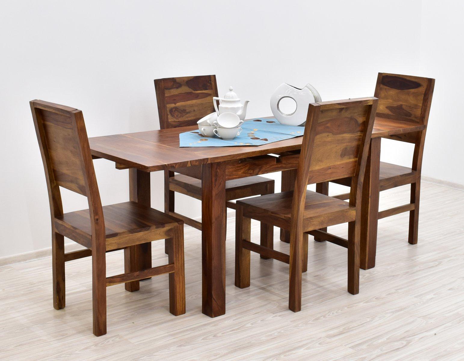 Komplet obiadowy kolonialny stół rozkładany + 4 krzesła lite drewno palisander indyjski styl modernistyczny jasny brąz
