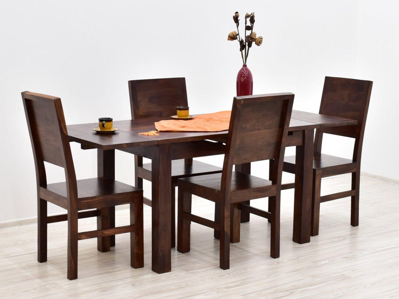 Komplet obiadowy kolonialny stół rozkładany + 4 krzesła z litego drewna palisandru ciemny brąz nowoczesny