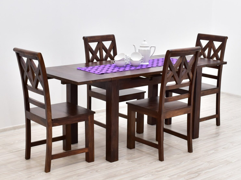 Komplet obiadowy kolonialny stół rozkładany + 4 krzesła ażurowe oparcie lite drewno palisander ciemny brąz