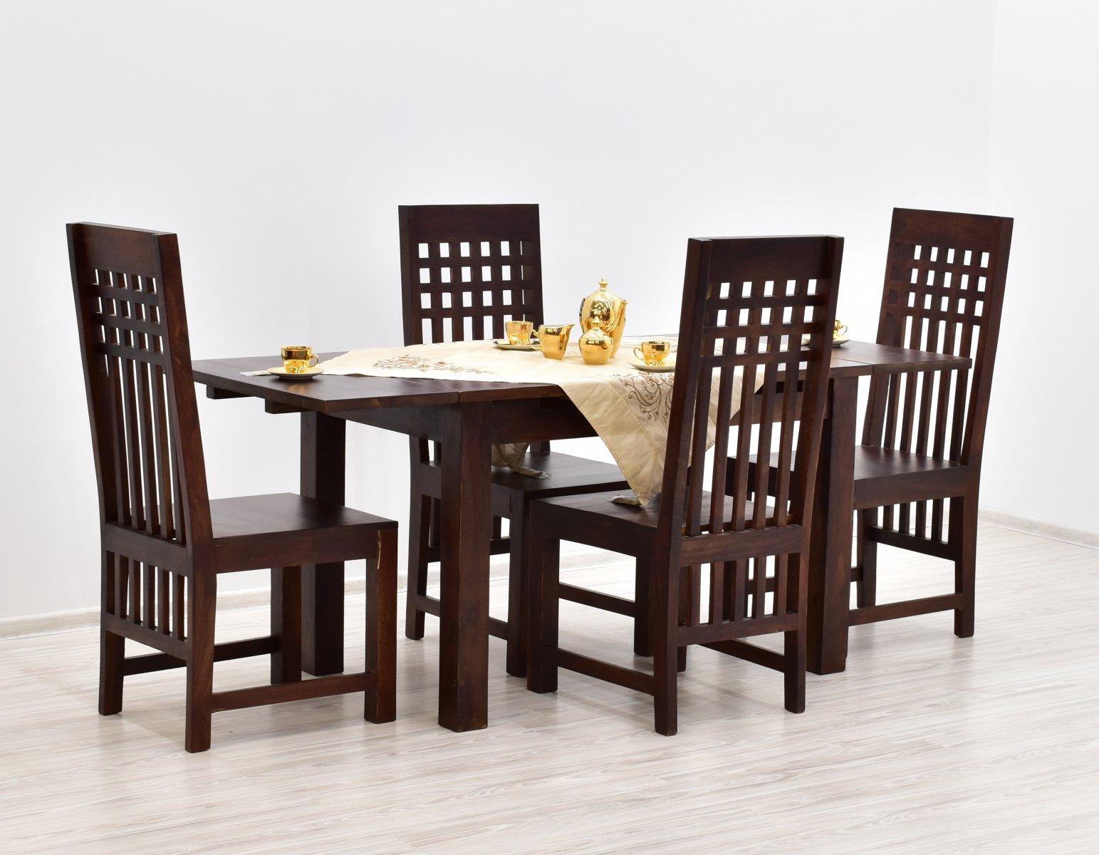 Komplet obiadowy kolonialny stół rozkładany + 4 krzesła z litego drewna palisandru ciemny brąz