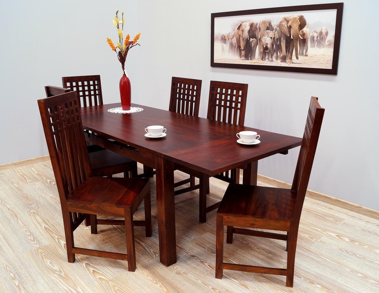 Komplet obiadowy kolonialny stół rozkładany + 6 krzeseł lite drewno palisander indyjski ciemny brąz
