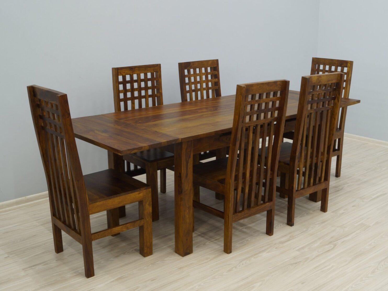 Komplet obiadowy kolonialny stół rozkładany + 6 krzeseł lite drewno palisander indyjski jasny brąz