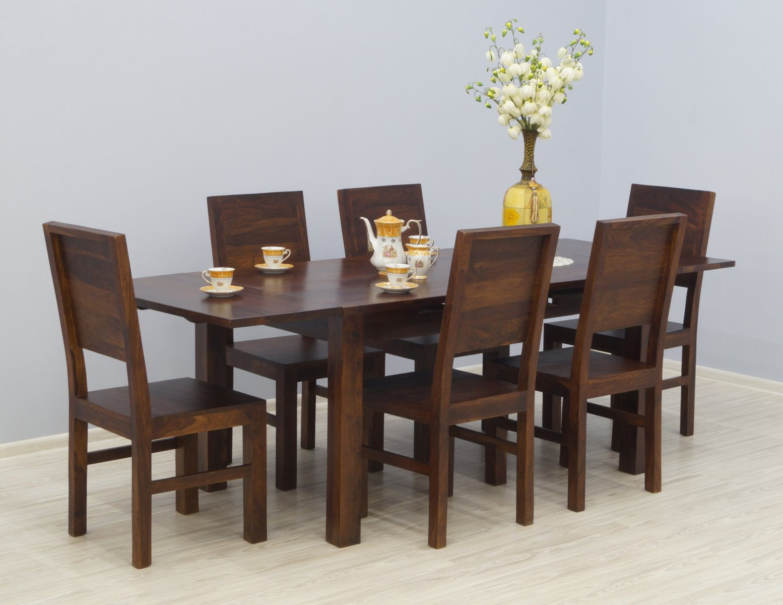 Komplet obiadowy kolonialny stół rozkładany + 6 krzeseł z litego drewna palisandru ciemny brąz nowoczesny