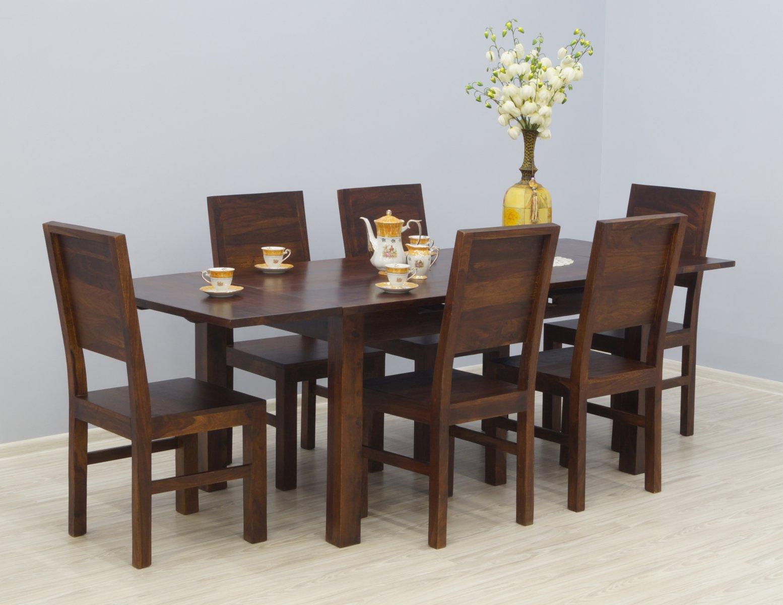 Komplet obiadowy kolonialny stół rozkładany + 6 krzeseł pełne oparcia lite drewno palisander ciemny brąz