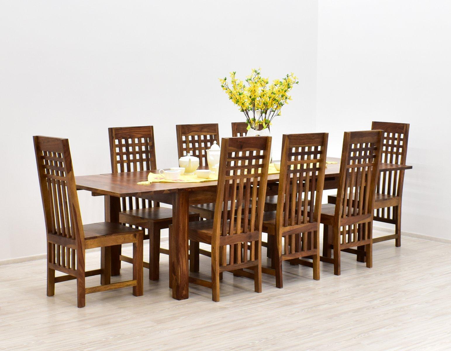 Komplet obiadowy kolonialny stół rozkładany + 8 krzeseł lite drewno palisander indyjski jasny brąz
