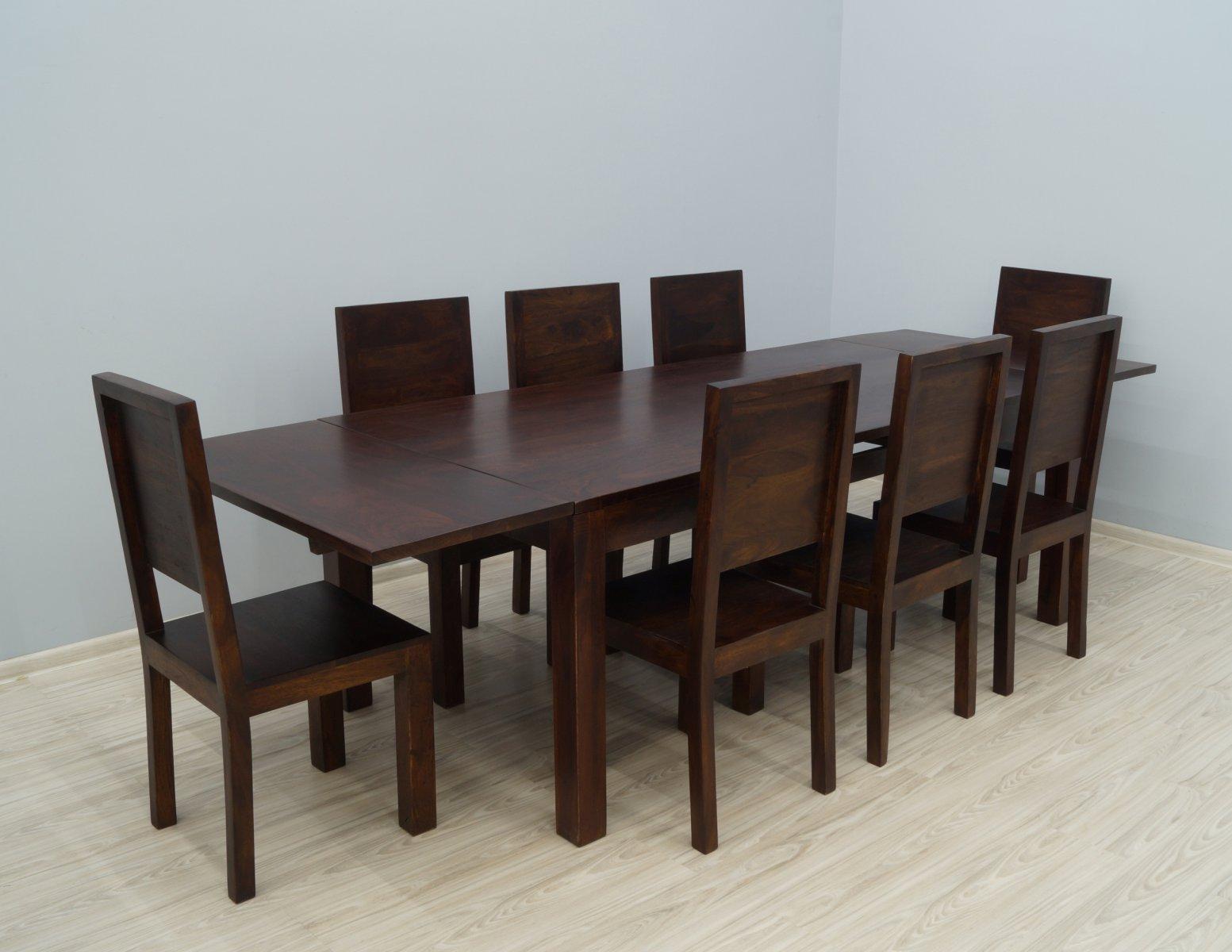 Komplet obiadowy kolonialny stół rozkładany + 8 krzeseł z litego drewna palisandru ciemny brąz nowoczesny