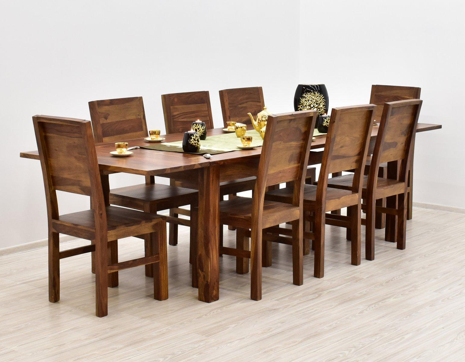Komplet obiadowy kolonialny stół rozkładany + 8 krzeseł z litego drewna palisandru jasny brąz