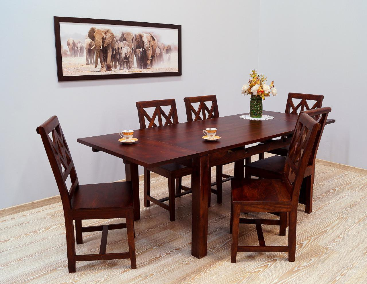 Komplet obiadowy kolonialny stół rozkładany + 6 krzeseł ażurowe oparcia lite drewno palisander ciemny brąz nowoczesny