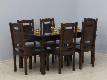 Komplet obiadowy kolonialny zestaw stół + 6 krzeseł lite drewno akacja indyjska rzeźbione unikatowe