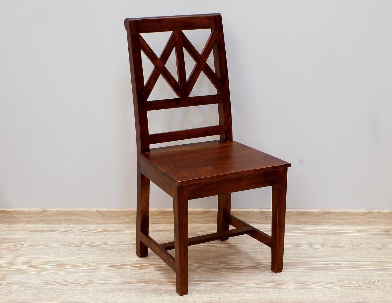 Krzesło kolonialne lite drewno palisander indyjski ciemny brąz