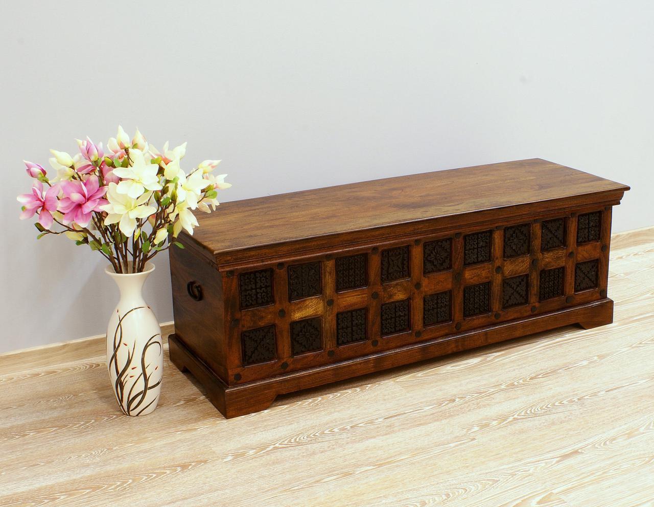 Kufer kolonialny lite drewno akacja indyjska ręcznie rzeźbiony pojemny masywny