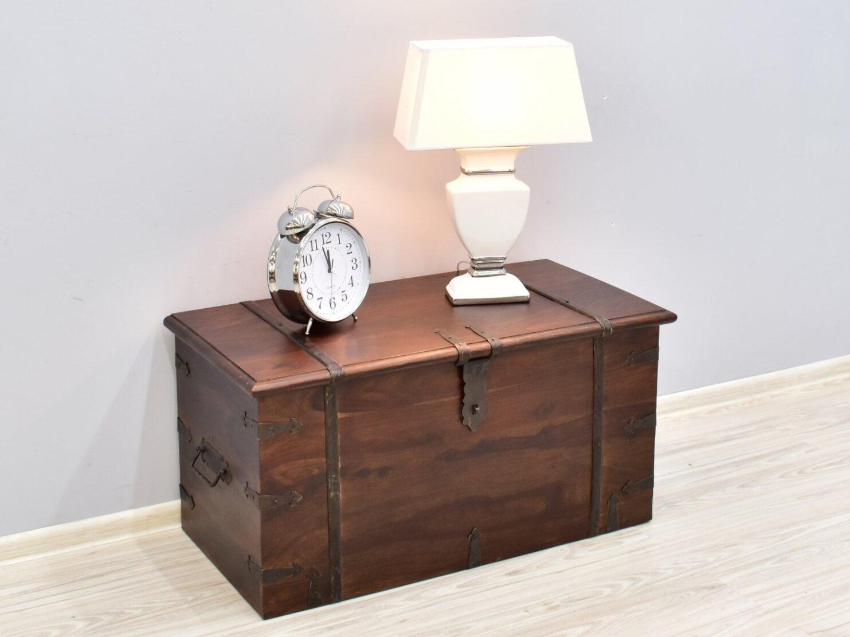 Kufer kolonialny lite drewno palisander indyjski metalowe okucia ciemny brąz klasyczny