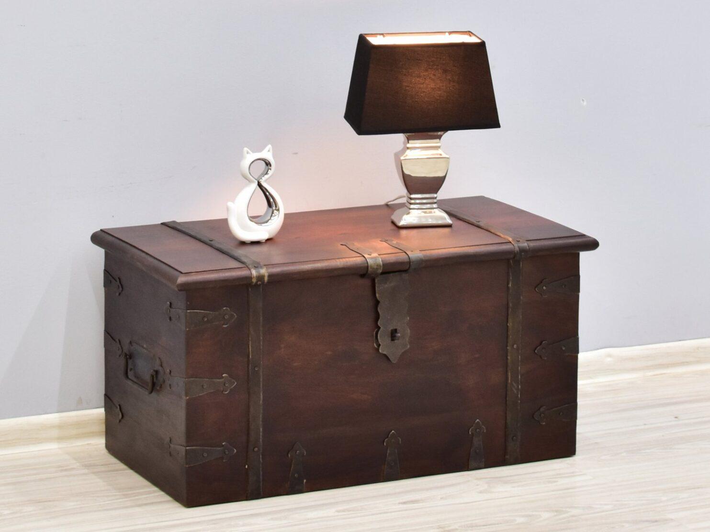 Kufer kolonialny lite drewno palisander indyjski metalowe okucia ciemny brąz