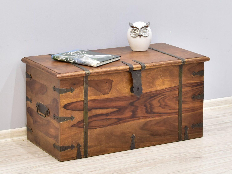 Kufer kolonialny lite drewno palisander indyjski metalowe okucia jasny brąz