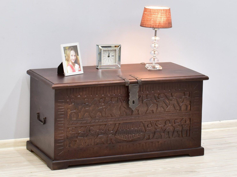 Kufer kolonialny lite drewno palisander indyjski rzeźbiony ciemny brąz