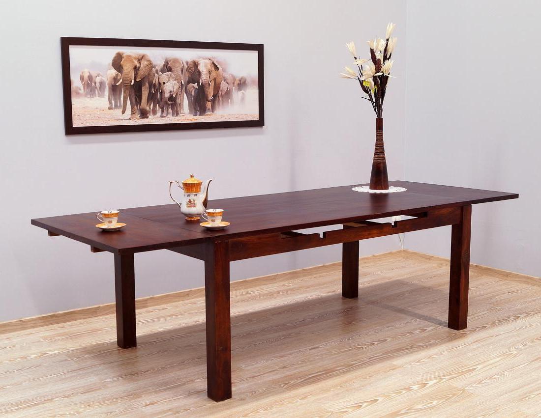 Stół kolonialny lite drewno palisander indyjski rozkładany ciemny brąz klasyczny