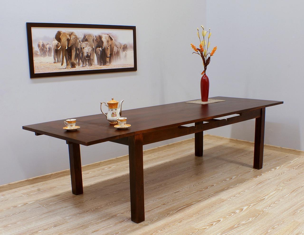 Stół kolonialny lite drewno palisander indyjski rozkładany ciemny brąz klasyczny duży