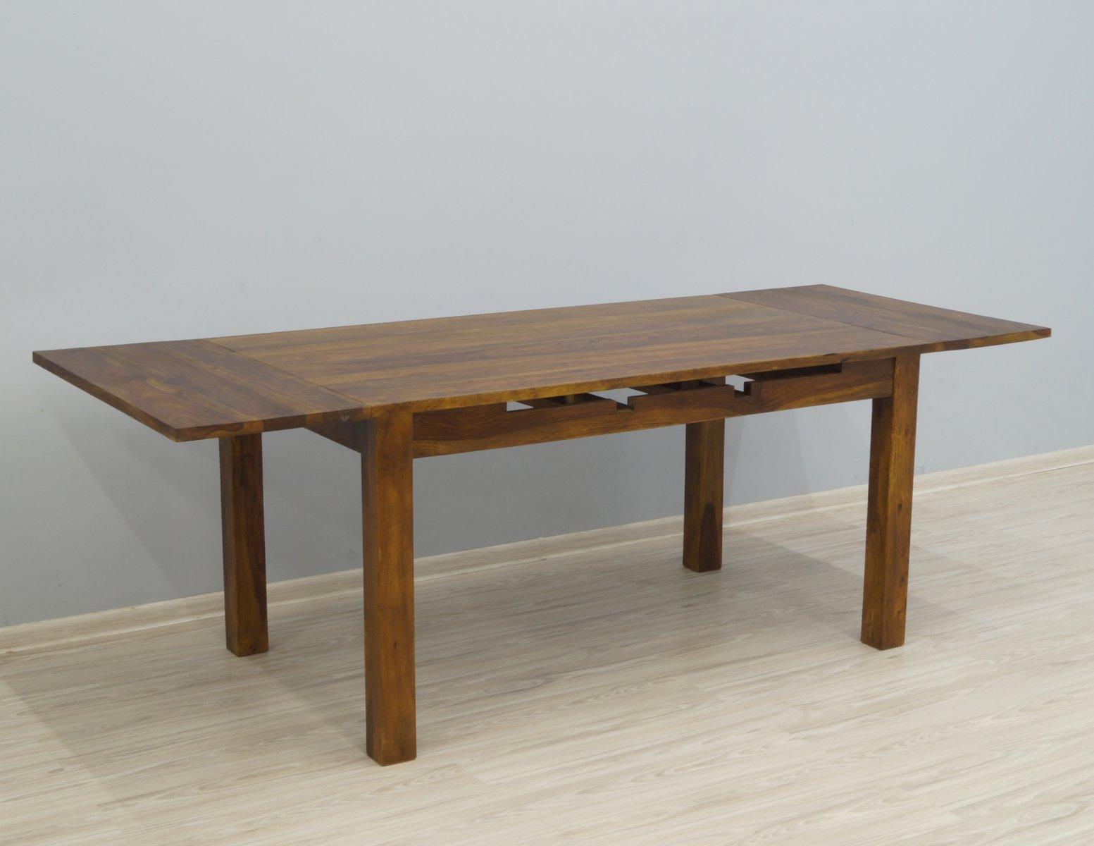 Stół kolonialny lite drewno palisander indyjski rozkładany jasny brąz