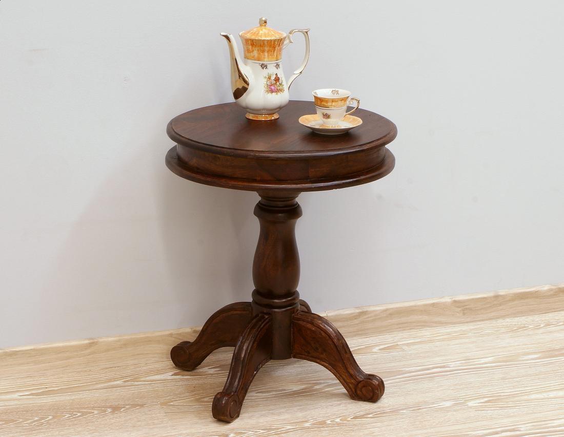 Stolik kawowy kolonialny lite drewno palisander indyjski okrągły na nodze