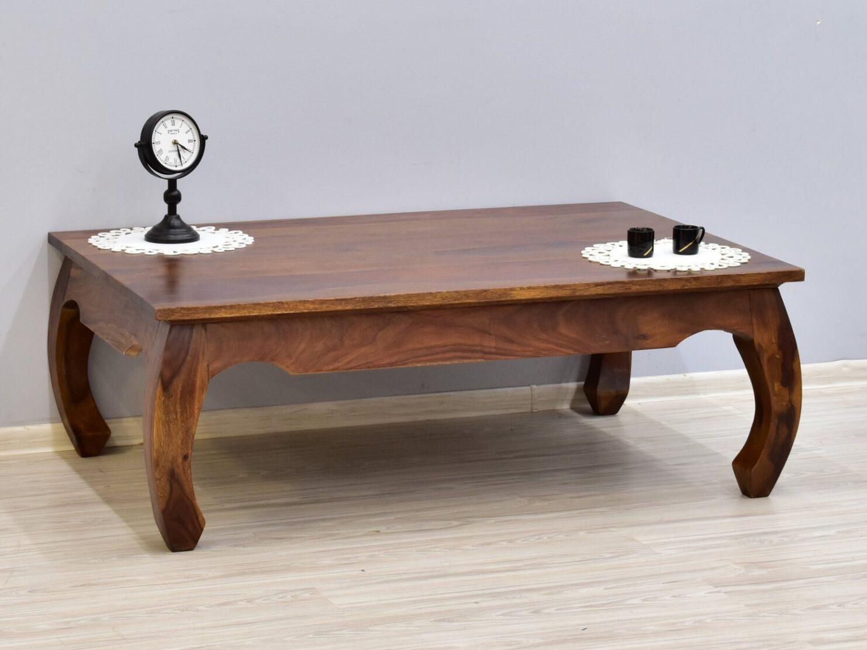 Stolik kawowy kolonialny ława lite drewno palisander indyjski stylowy gięte nogi jasny brąz