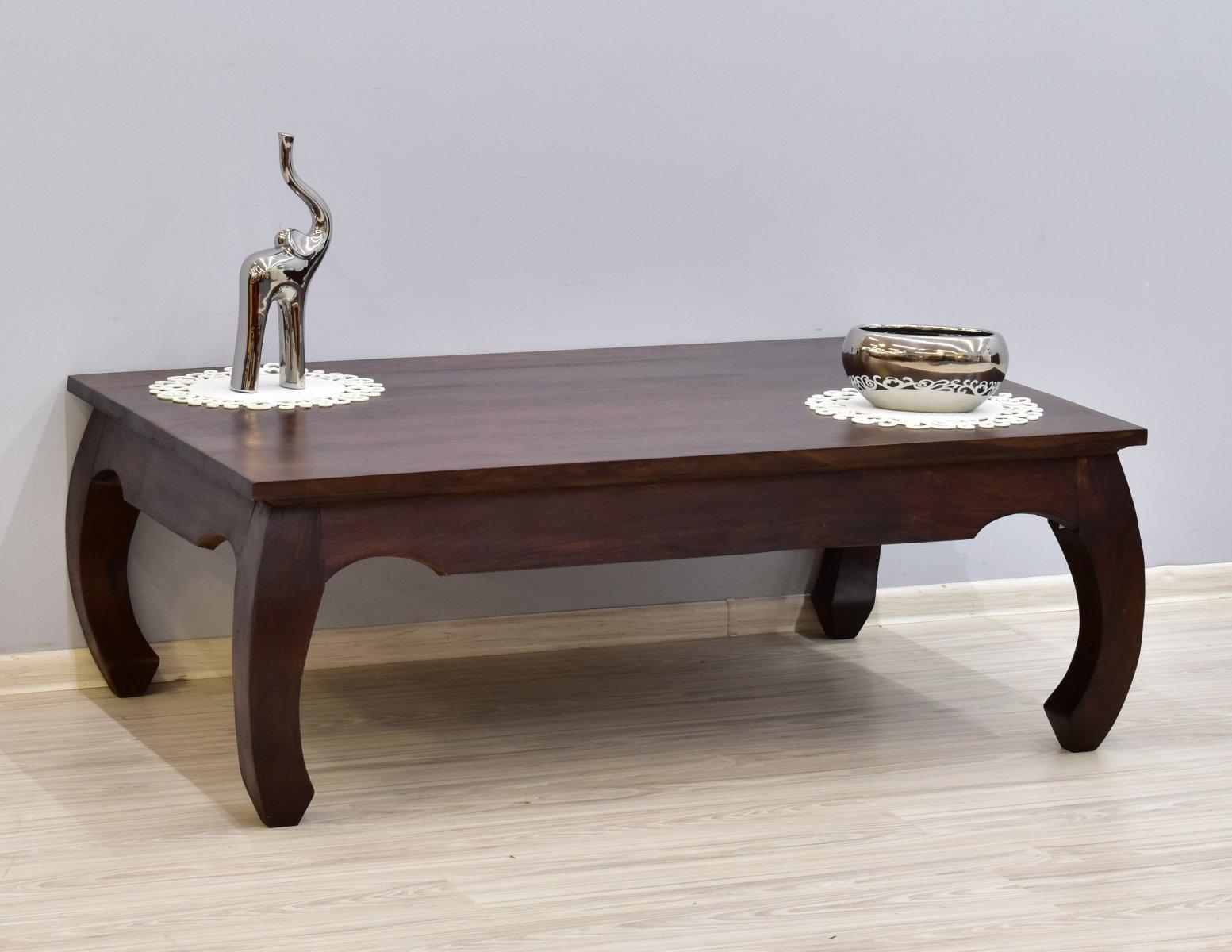 Stolik kawowy kolonialny lite drewno palisander indyjski stylowy gięte nogi ciemny brąz