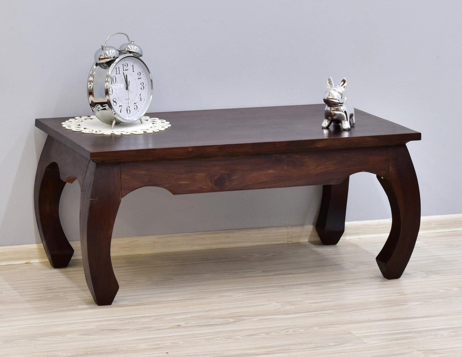 Stolik kawowy kolonialny ława lite drewno palisander indyjski stylowy gięte nogi ciemny brąz klasyczny