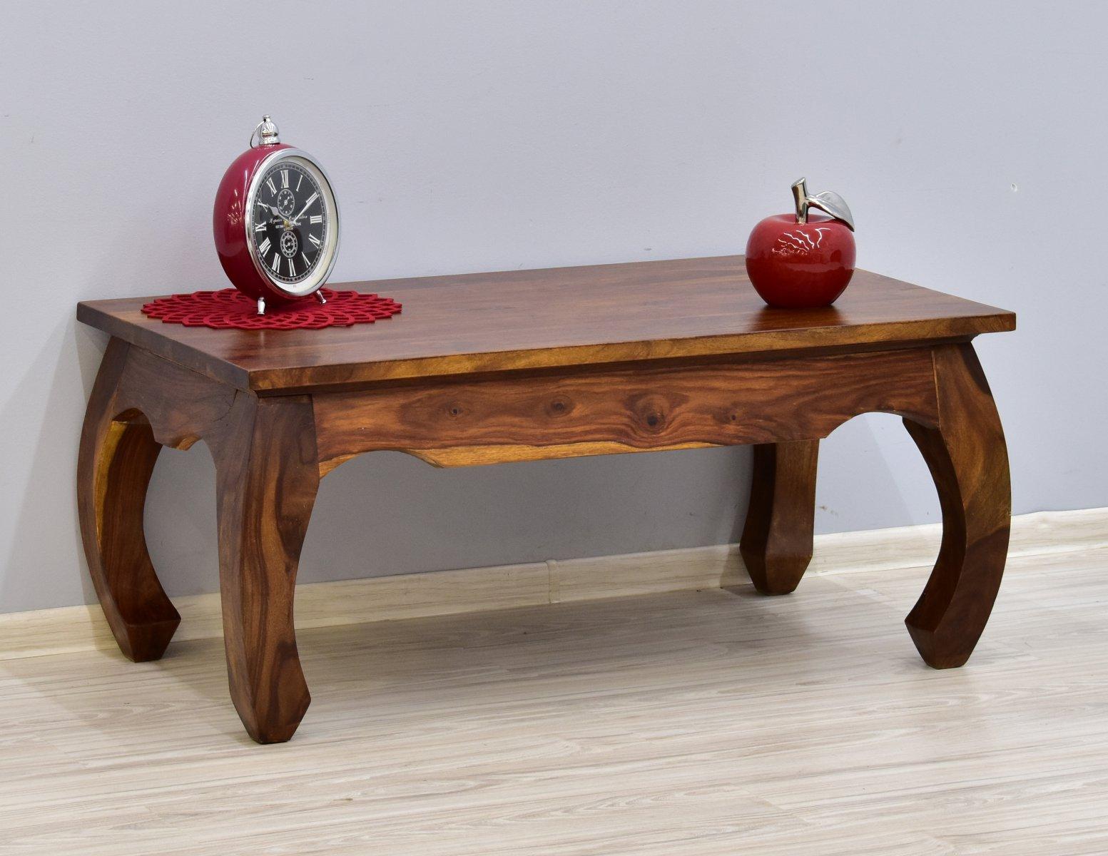 Stolik kawowy kolonialny ława lite drewno palisander indyjski gięte nogi