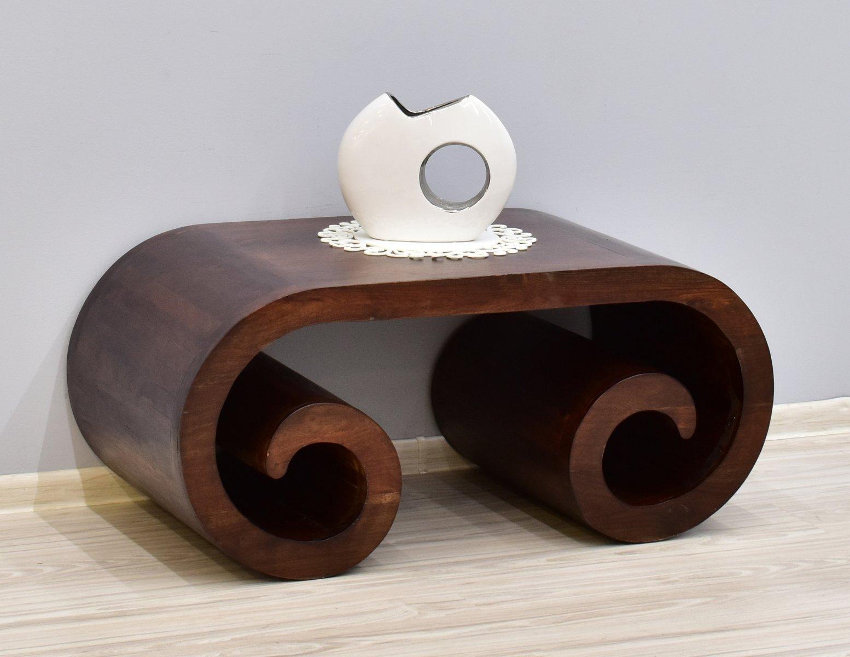 Stolik kawowy kolonialny z litego drewna palisandru indyjskiego ciemny brąz