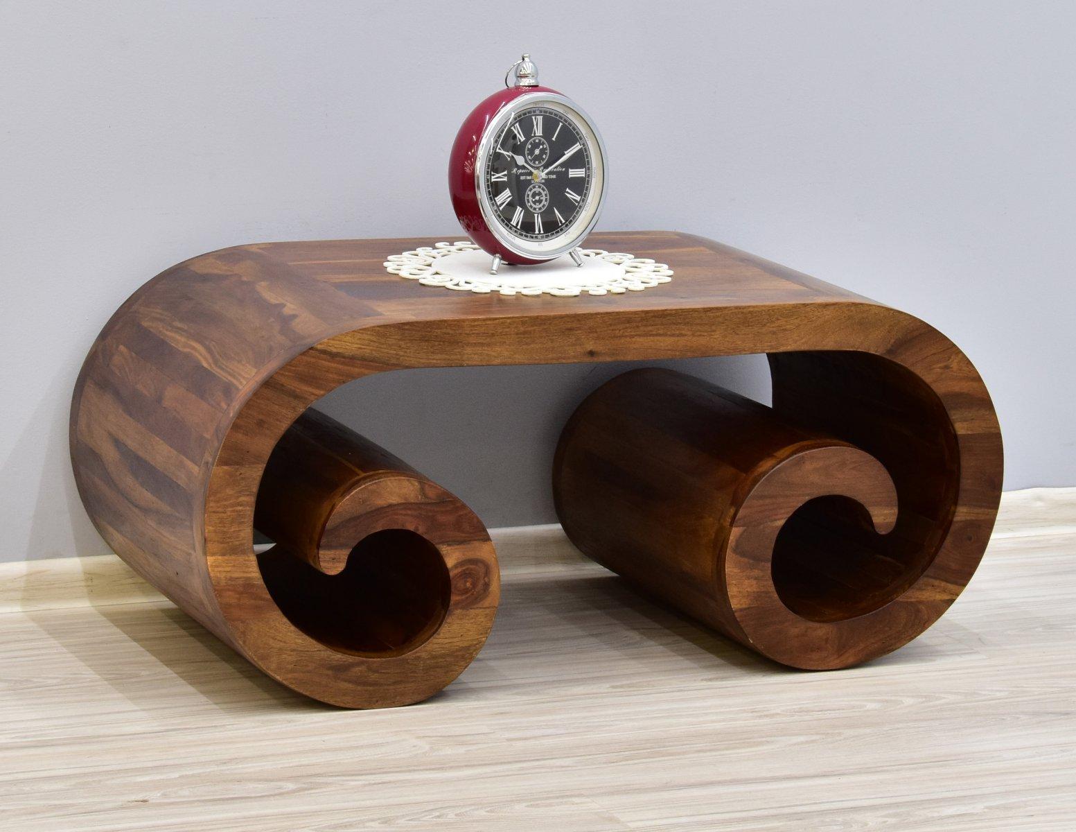 Stolik kawowy kolonialny z litego drewna palisandru indyjskiego jasny brąz