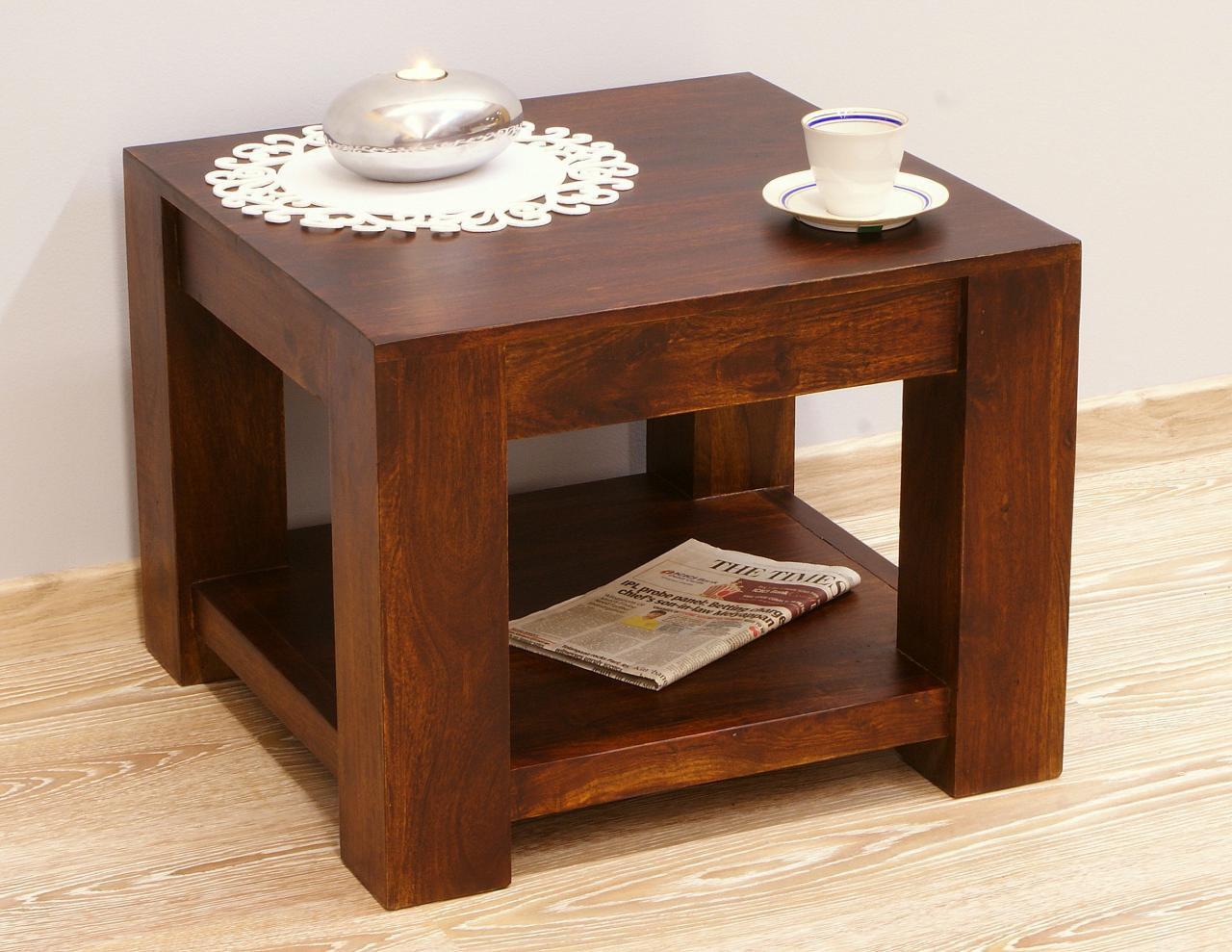 Stolik kawowy kolonialny z litego drewna palisandru indyjskiego z półką ciemny brąz