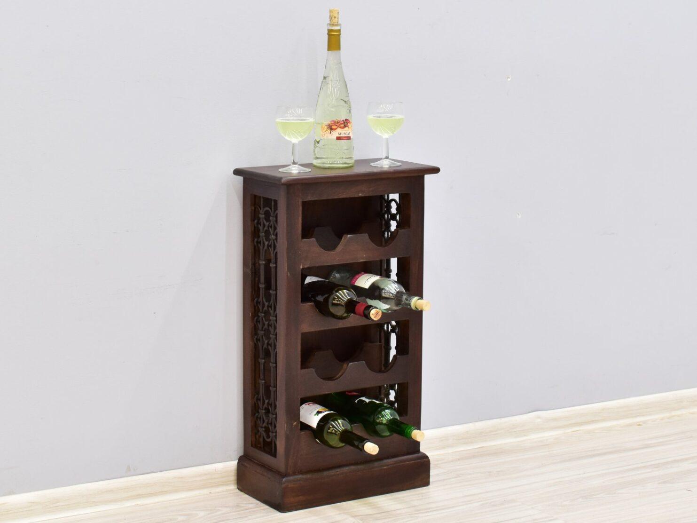 Szafka na wino stojak kolonialny lite drewno palisander indyjski z metaloplastyką ciemny brąz