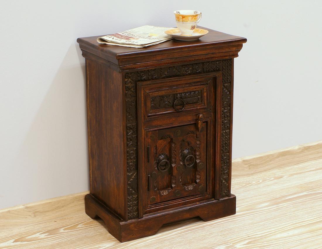 Szafka nocna kolonialna ręcznie rzeźbiona stolik nocny lite drewno akacja indyjska
