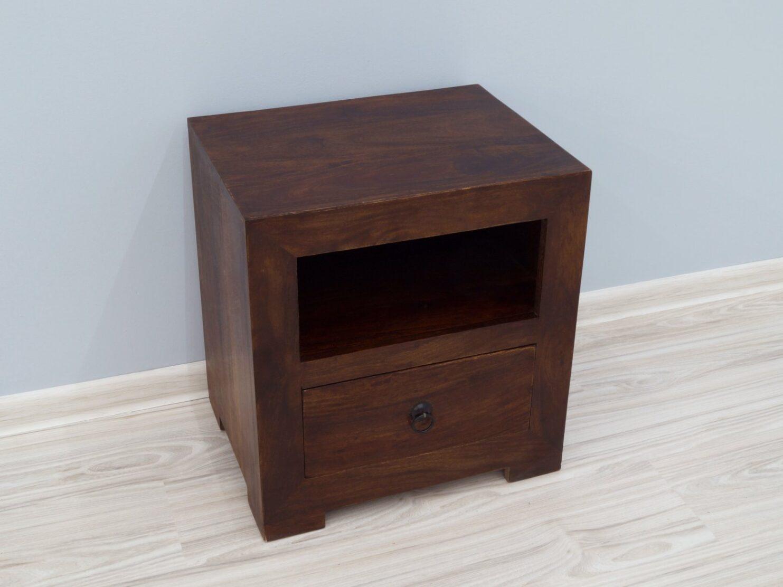 Szafka nocna stolik nocny lite drewno palisander indyjski ciemny brąz