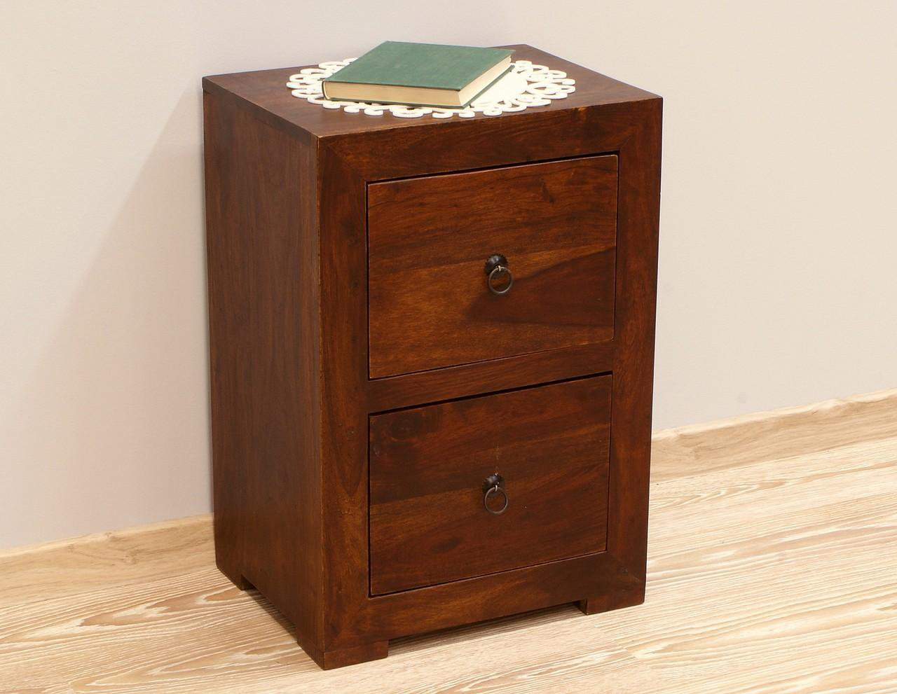 Szafka nocna stolik nocny lite drewno palisander indyjski ciemny brąz dwie szuflady nowoczesny