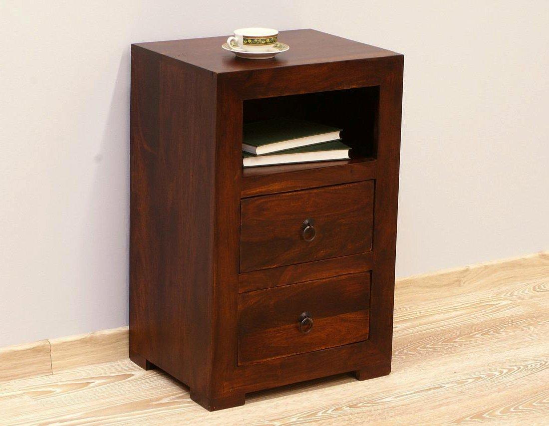 Szafka nocna stolik nocny lite drewno palisander indyjski ciemny brąz dwie szuflady wnęka