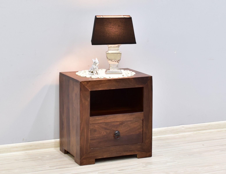 Szafka stolik nocny lite drewno palisander indyjski ciemny brąz