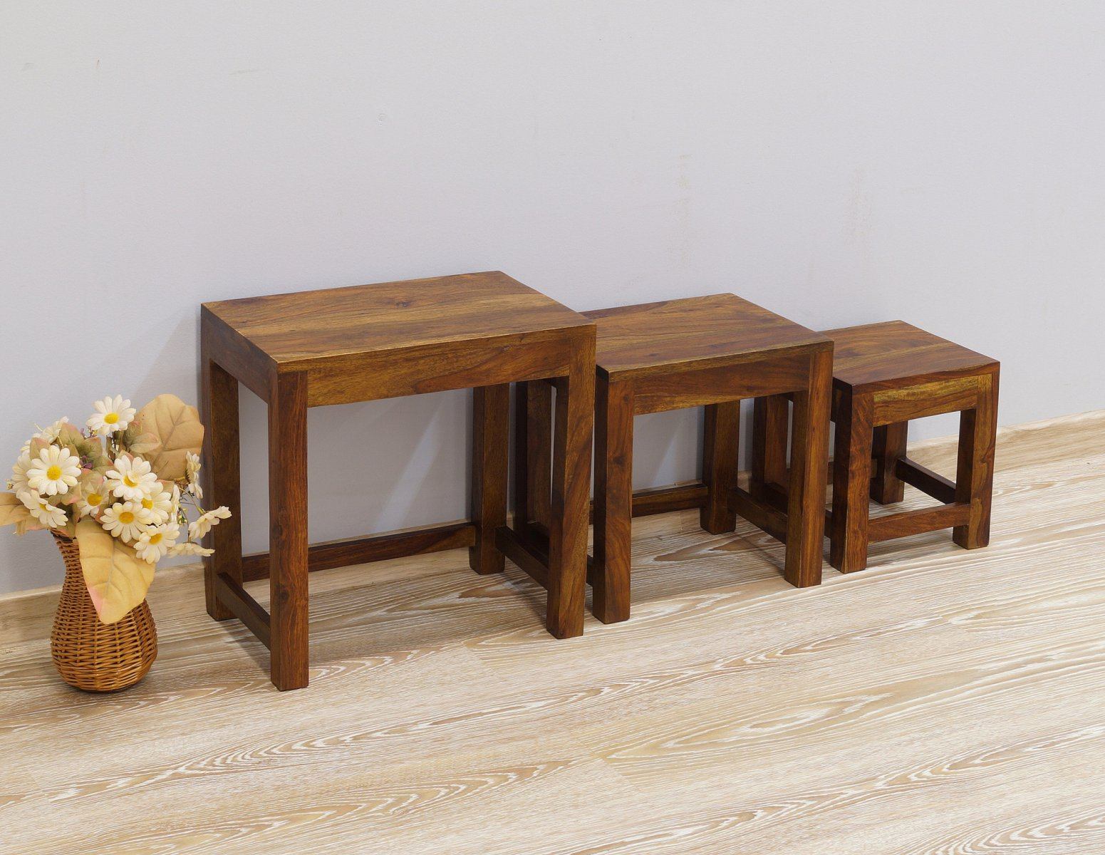 Taboret kolonialny stolik stołek lite drewno palisander indyjski 3 sztuki