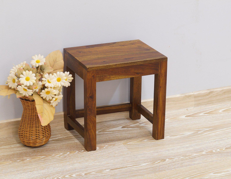 Taboret stołek stolik kolonialny lite drewno palisander indyjski jasny brąz nowoczesny